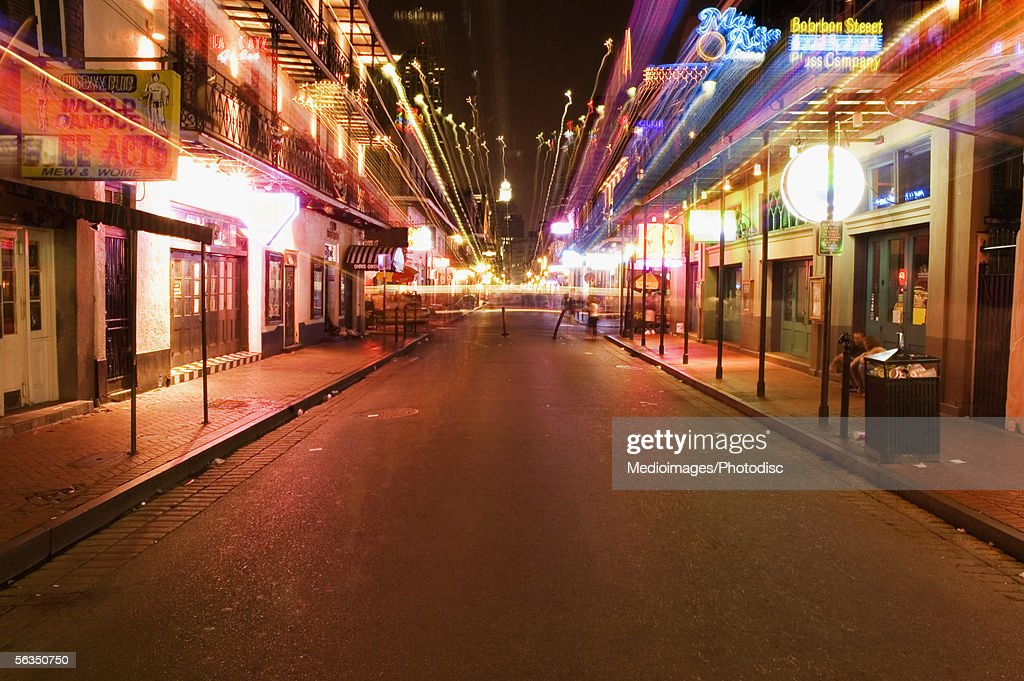 Bourbon Street at night (blurred motion) : Stock Photo