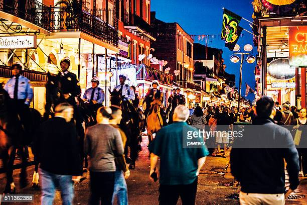 Bourbon Street crowd - Mardi Gras in New Orleans.