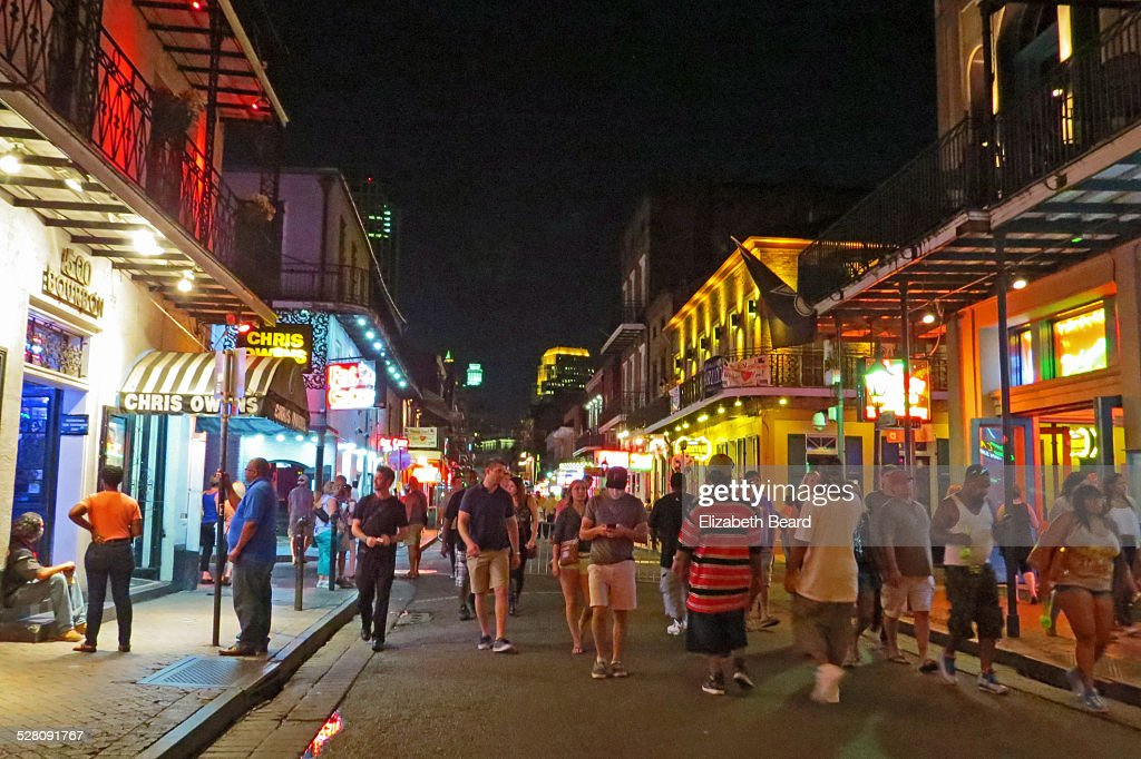 Bourbon Street, New Orleans, at night