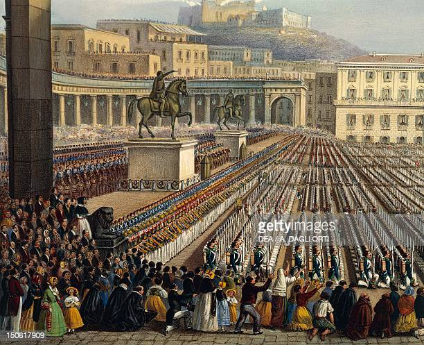 Bourbon troops deployed in Piazza Reale in Naples Achille Vespa Detail Unification Italy 19th century