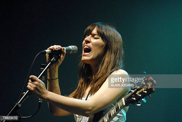 Canadian singer Feist performs on stage 19 April 2007 in Bourges western France during the 'Le printemps de Bourges' rock festival One of Europe's...