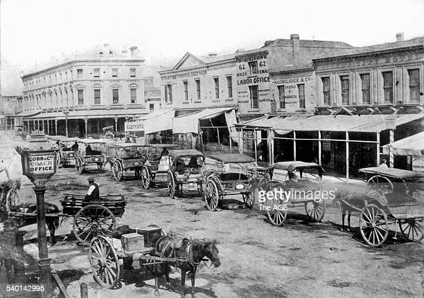 Bourke Street looking towards Swanston Street showing a sign for Cobb Co Coach Office and horsedrawn cabs Melbourne 1862 THE AGE ARCHIVES