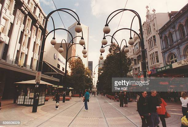 Bourke Street Mall with overhanging ball lampposts as seen from Swanston Street Picture taken August 6 1992 THE AGE Picture by CRAIG SILLITOE