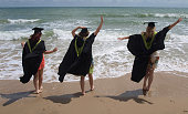 Celebrating Graduation day on the beach.