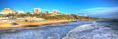 Bournemouth beach pier and coast Dorset England UK like a painting in vivid bright colour HDR panoramic view