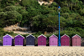 Beach huts at Bournemouth, Dorset, UK.