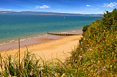 Bournemouth Beach golden sands and blue sky