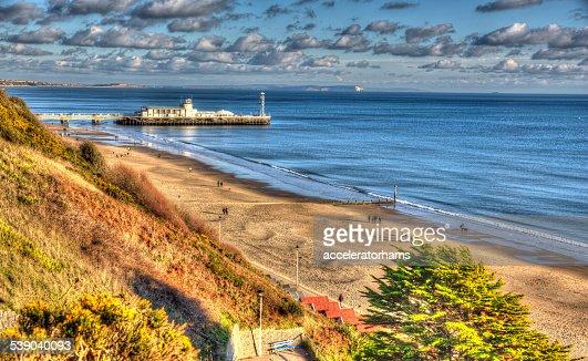 Bournemouth beach pier and coast England UK like painting HDR : Stock Photo