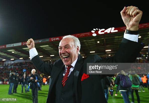 Bournemouth chairman Jeff Mostyn celebrates victory on the pitch after the Sky Bet Championship match between AFC Bournemouth and Bolton Wanderers at...