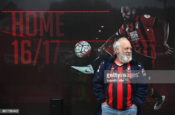 Bournemouth fan stands outside the club shop during the Premier League match between AFC Bournemouth and West Bromwich Albion at Vitality Stadium on...