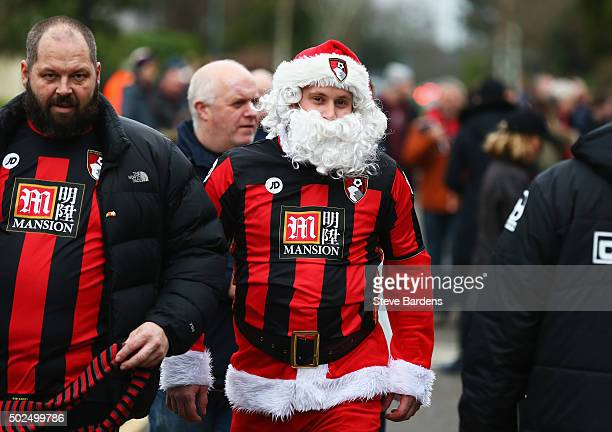 Bournemouth fan wears his Father Christmas outfit prior to the Barclays Premier League match between AFC Bournemouth and Crystal Palace at Vitality...