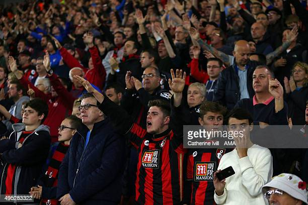 Bournemouth fans during the Barclays Premier League match between Southampton and AFC Bournemouth at St Mary's Stadium on November 1 2015 in...