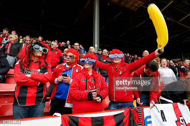 Bournemouth fans soak up the atmopshere during the Sky Bet Championship match between Charlton Athletic and AFC Bournemouth at The Valley on May 2...