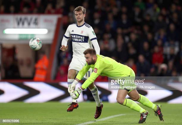 AFC Bournemouth goalkeeper Artur Boruc punches clear from Middlesbrough's Patrick Bamford during the Carabao Cup Fourth Round match at the Vitality...