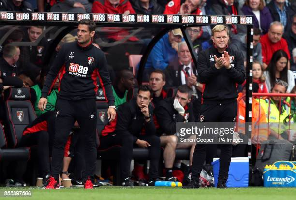 AFC Bournemouth manager Eddie Howe and assistant Jason Tindall on the touchline during the Premier League match at the Vitality Stadium Bournemouth