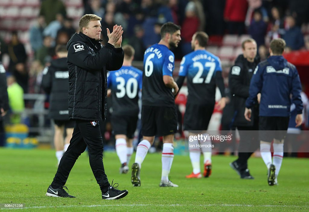 Bournemouth manager Eddie Howe applauds the fans at the final whilstle during the Barclays Premier League match between Sunderland and Bournemouth at The Stadium of Light on January 23, 2016 in Sunderland, England.