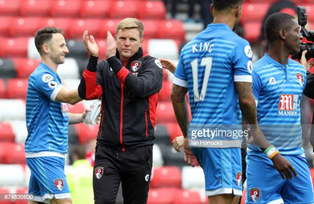 Bournemouth manager Eddie Howe applauds the fans during the Premier League match between Sunderland AFC and AFC Bournemouth at Stadium of Light on...