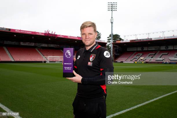 Bournemouth manager Eddie Howe is Presented with the Barclays Manager of the Month Award on March 31 2017 in Bournemouth England
