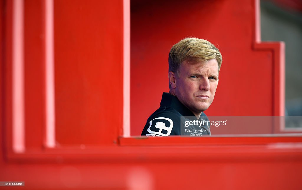 Bournemouth manager Eddie Howe looks on before the Pre season friendly match between Exeter City and AFC Bournemouth at St James Park on July 18 2015...