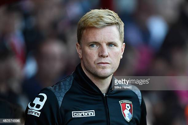 Bournemouth manager Eddie Howe looks on during a Pre Season Friendly between AFC Bournemouth and Cardiff City at Vitality Stadium on July 31 2015 in...
