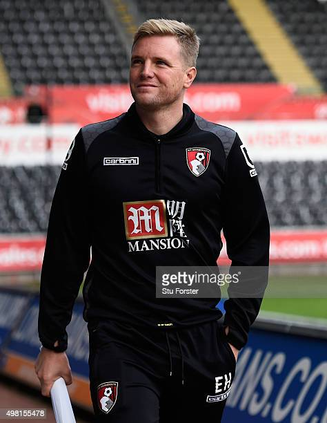 Bournemouth manager Eddie Howe raises a smile as he arrives at the ground before the Barclays Premier League match between Swansea City and AFC...