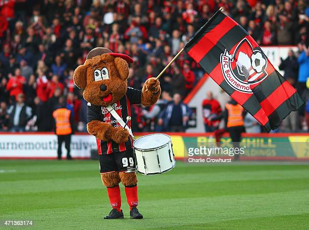 Bournemouth mascot Cherry Bear welcomes the team prior to the Sky Bet Championship match between AFC Bournemouth and Bolton Wanderers at Goldsands...