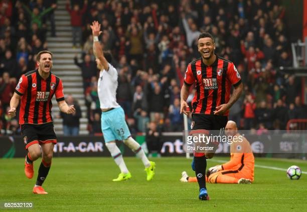Bournemouth player Dan Gosling and Joshua King celebrates King's second goal during the Premier League match between AFC Bournemouth and West Ham...