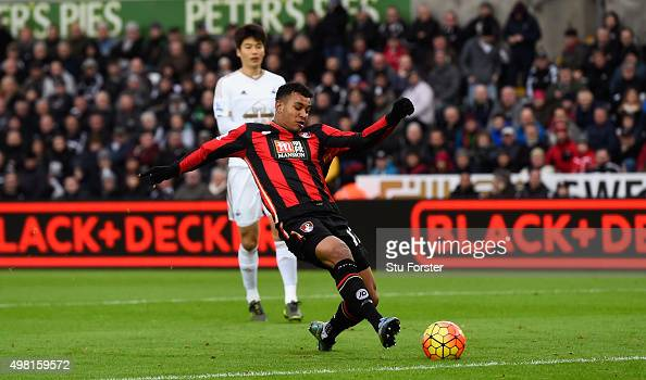 Bournemouth player Joshua King scores the opening goal during the Barclays Premier League match between Swansea City and AFC Bournemouth at Liberty...