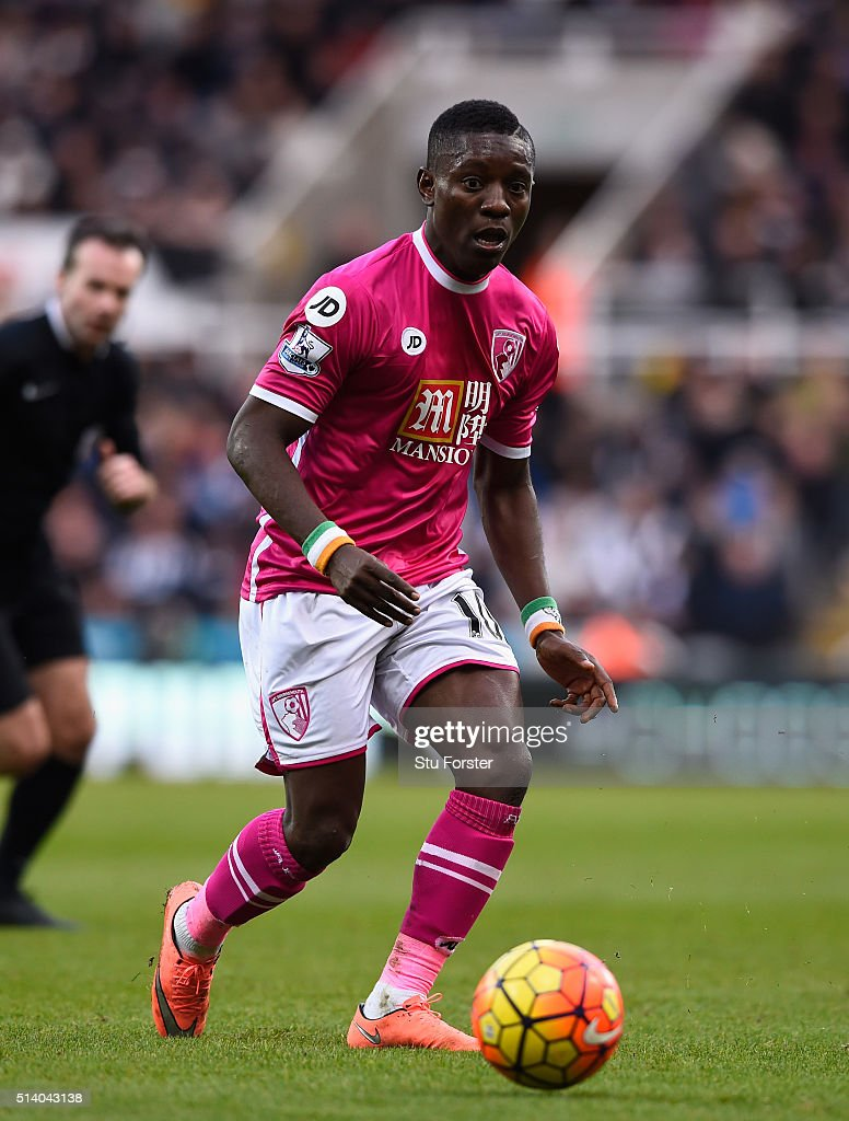 Bournemouth player <a gi-track='captionPersonalityLinkClicked' href=/galleries/search?phrase=Max+Gradel&family=editorial&specificpeople=5488968 ng-click='$event.stopPropagation()'>Max Gradel</a> in action during the Barclays Premier League match between Newcastle United at A.F.C. Bournemouth at St James' Park on March 5 in Newcastle upon Tyne, England.