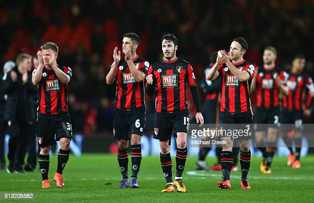 Bournemouth players applauds home supporters after their 20 win in the Barclays Premier League match between AFC Bournemouth and Southampton at...