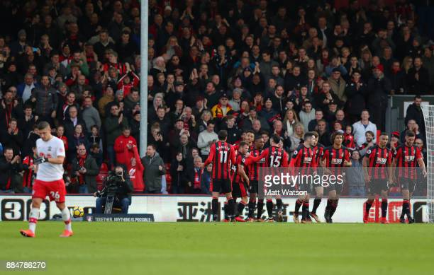 Bournemouth players celebrate after Ryan Fraser opens the scoring during the Premier League match between AFC Bournemouth and Southampton at the...