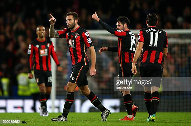 Bournemouth players celebrate their 10 win in the Barclays Premier League match between Chelsea and AFC Bournemouth at Stamford Bridge on December 5...