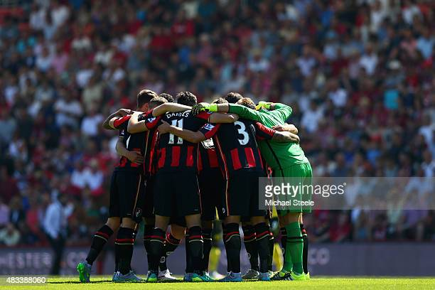 Bournemouth players form a huddle prior to the Barclays Premier League match between AFC Bournemouth and Aston Villa at Vitality Stadium on August 8...