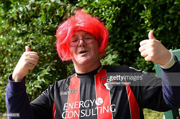 Bournemouth supporter is seen prior to the Barclays Premier League match between AFC Bournemouth and Leicester City at Vitality Stadium on August 29...