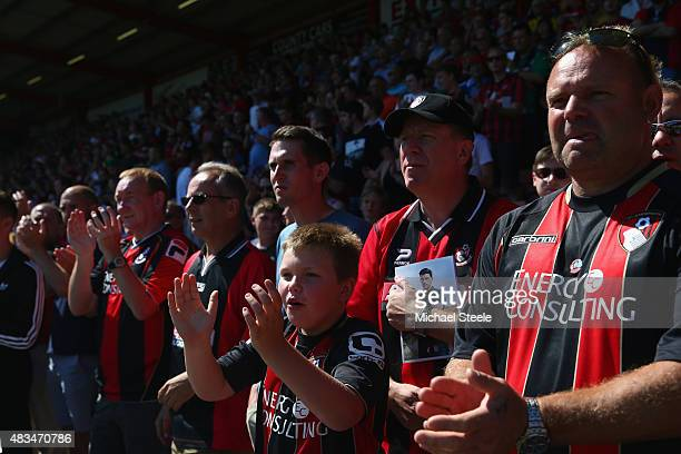 Bournemouth supporters during the Barclays Premier League match between Bournemouth and Aston Villa at the Vitality Stadium on August 8 2015 in...