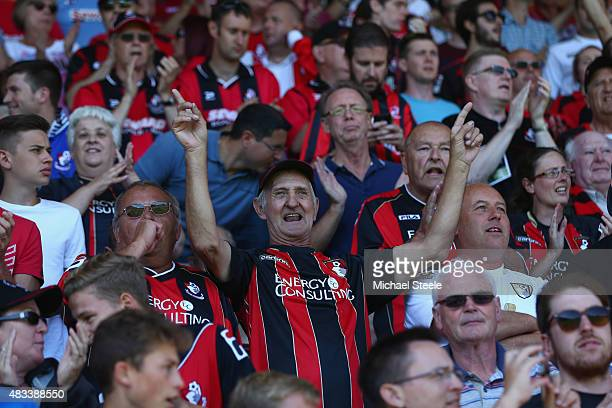 Bournemouth supporters soak up the atmosphere prior to the Barclays Premier League match between AFC Bournemouth and Aston Villa at Vitality Stadium...