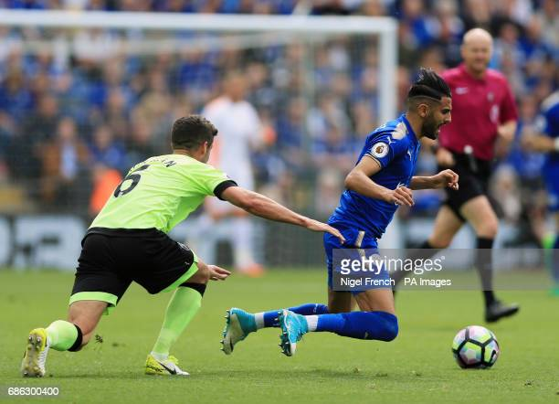 AFC Bournemouth's Andrew Surman and Leicester City's Riyad Mahrez battle for the ball during the Premier League match at the King Power Stadium...