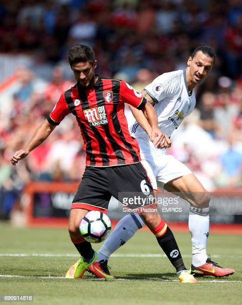Bournemouth's Andrew Surman and Manchester United's Zlatan Ibrahimovic battle for the ball