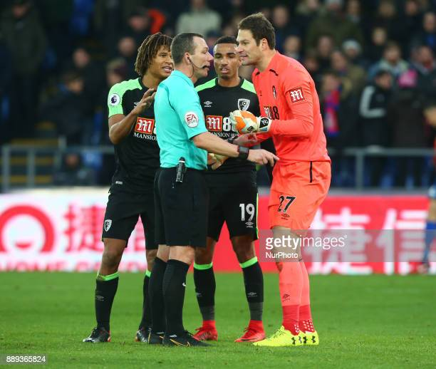 Bournemouth's Asmir Begovic not happy with Referee during Premier League match between Crystal Palace and AFC Bournemouth at Selhurst Park Stadium...