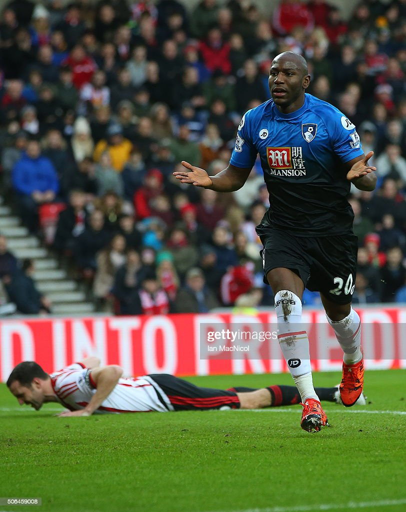 Bournemouth's Benik Afobe celebrates scoring during the Barclays Premier League match between Sunderland and Bournemouth at The Stadium of Light on January 23, 2016 in Sunderland, England.