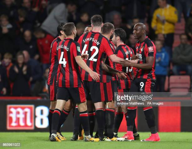 AFC Bournemouth's Benik Afobe celebrates scoring his side's third goal of the game during the Carabao Cup Fourth Round match at the Vitality Stadium...