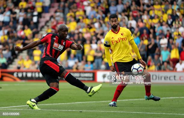 AFC Bournemouth's Benik Afobe shoots during the Premier League match at the Vitality Stadium Bournemouth