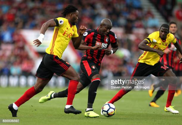 AFC Bournemouth's Benik Afobe up against Watford's Nathaniel Chalobah and Abdoulaye Doucoure during the Premier League match at the Vitality Stadium...