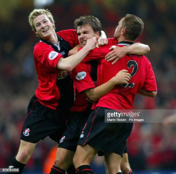 Bournemouth's Carl Fletcher celebrates scoring against Lincoln City with Wade Elliot and Neil Young during their Nationwide Division 3 playoff final...