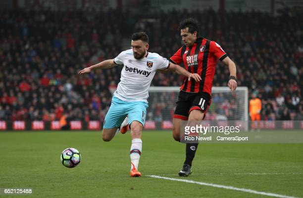 Bournemouth's Charlie Daniels and West Ham United's Robert Snodgrass during the Premier League match between AFC Bournemouth and West Ham United at...