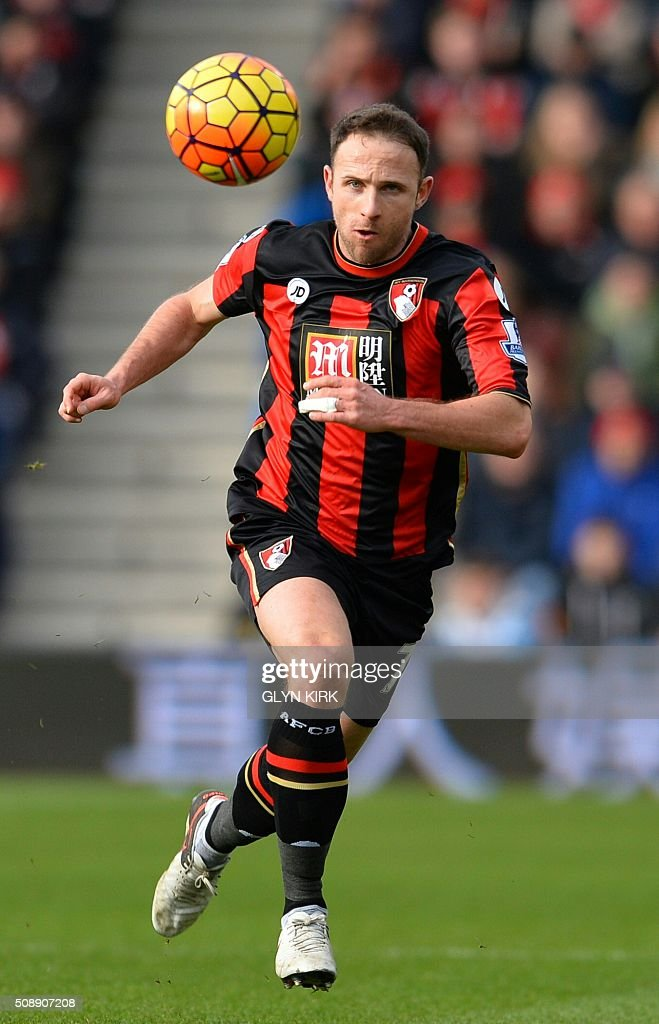 Bournemouth's English midfielder Marc Pugh chases the ball during the English Premier League football match between Bournemouth and Arsenal at the Vitality Stadium in Bournemouth, southern England on February 7, 2016. / AFP / GLYN KIRK / RESTRICTED TO EDITORIAL USE. No use with unauthorized audio, video, data, fixture lists, club/league logos or 'live' services. Online in-match use limited to 75 images, no video emulation. No use in betting, games or single club/league/player publications. /