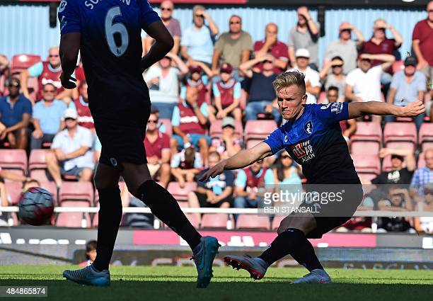 Bournemouth's English midfielder Matt Ritchie taks an unsuccessful shot during the English Premier League football match between West Ham United and...