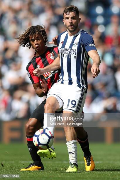 AFC Bournemouth's Nathan Ake an dWest Bromwich Albion's Jay Rodriguez battle for the ball during the Premier League match at The Hawthorns West...