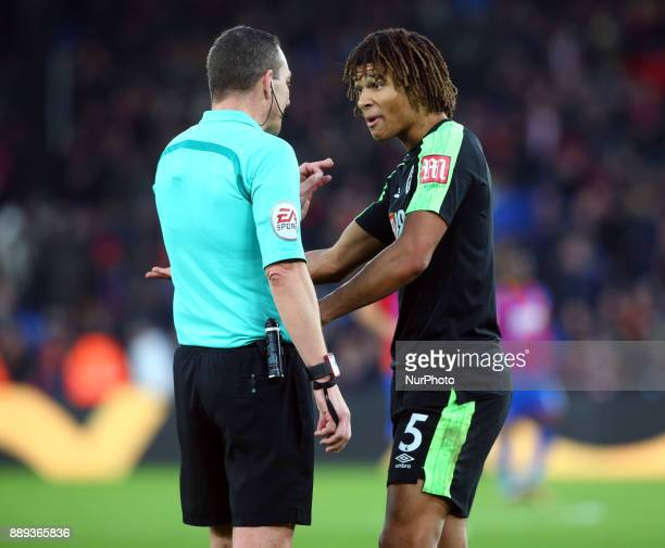 Bournemouth's Nathan Axe having words with Referee during Premier League match between Crystal Palace and AFC Bournemouth at Selhurst Park Stadium...