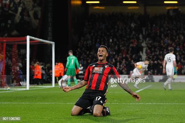 Bournemouth's Norwegian striker Joshua King celebrates scoring his team's second goal during the English Premier League football match between...